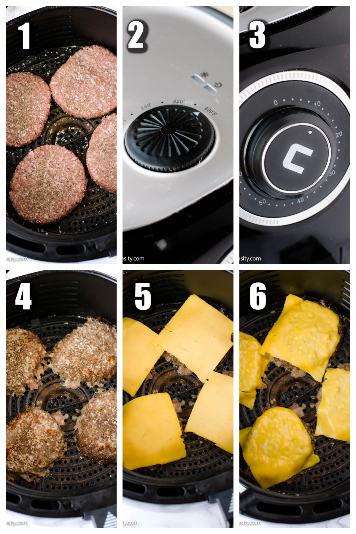 Step by step of cooking turkey burgers in the air fryer