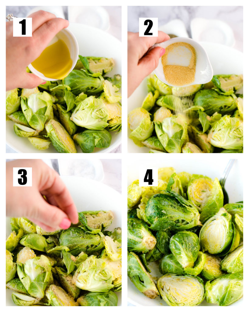 Step by step - season, oil, brussels sprouts