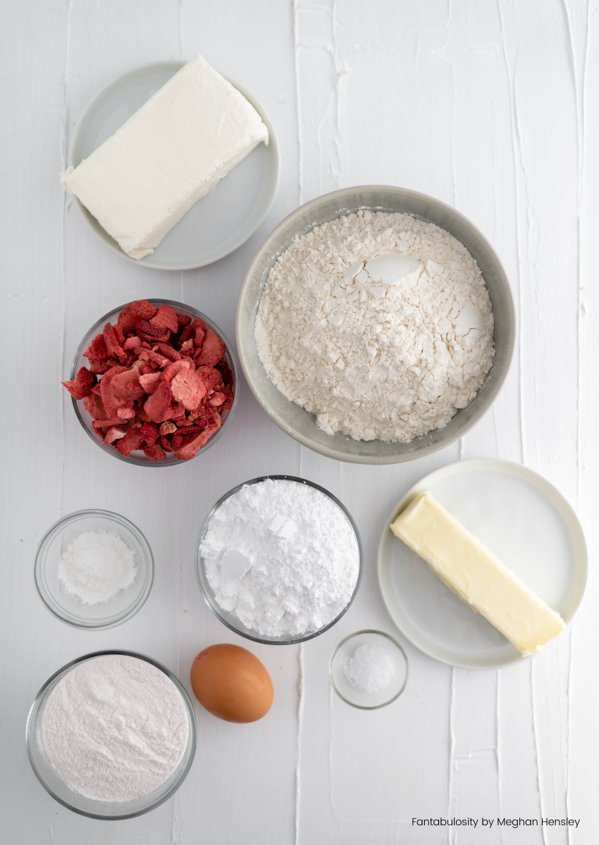 Ingredients for strawberry cheesecake cookies.