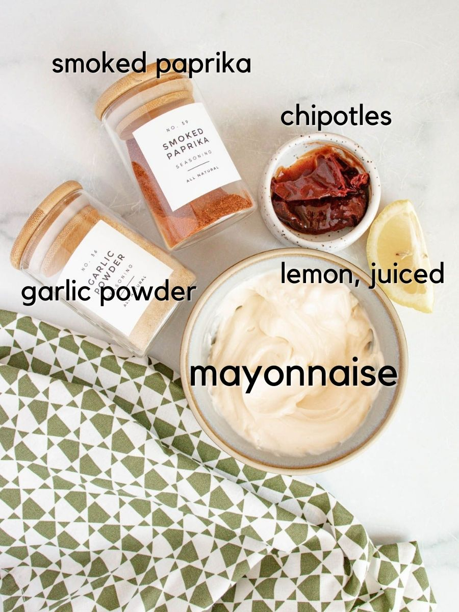 Ingredients for Easy Chipotle Aioli Dipping Sauce