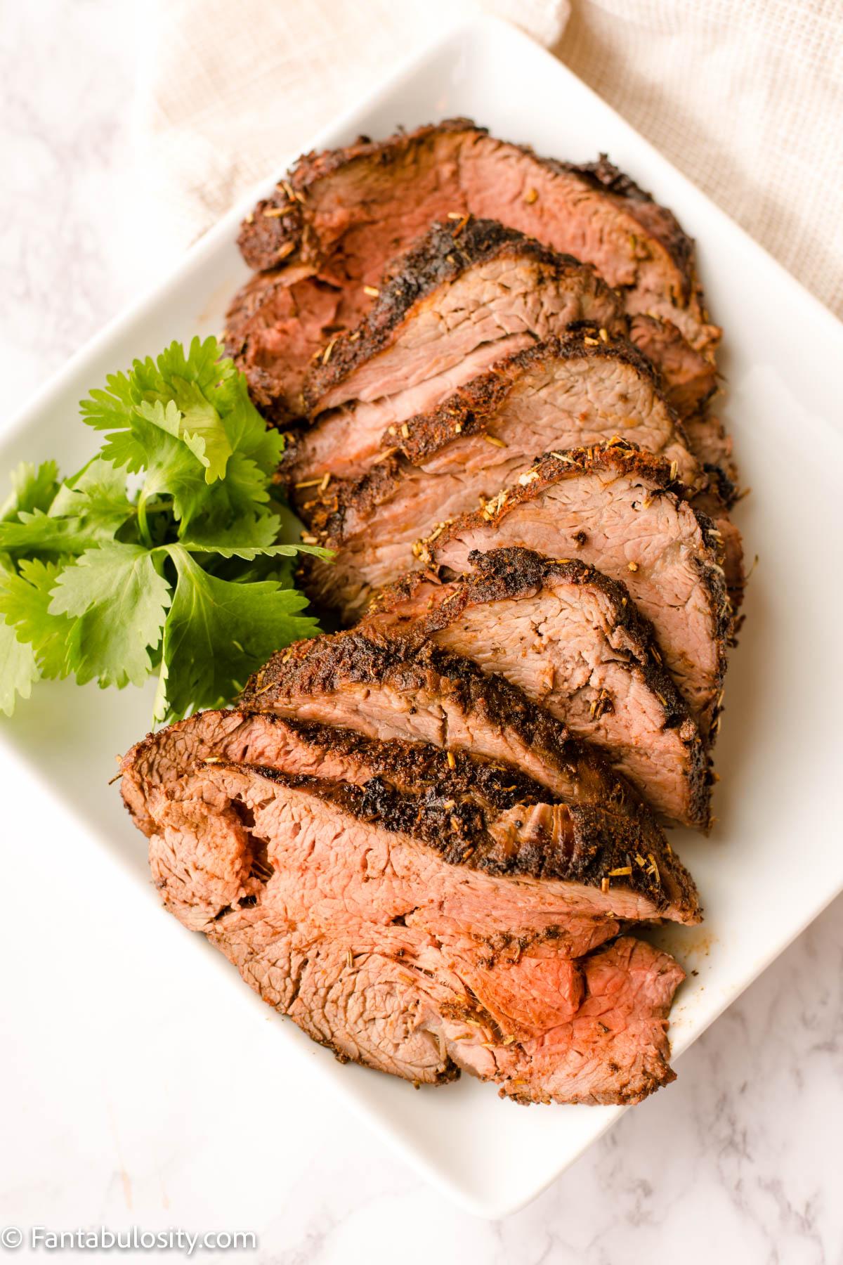 Beef Tenderloin Sliced on White plate