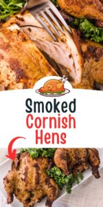 Smoked Cornish Hens - Cut open to inside meat