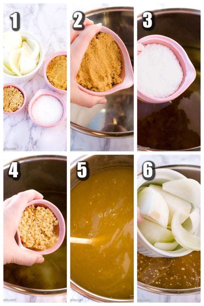 Collage of chicken brine, brown sugar, garlic, salt, onion