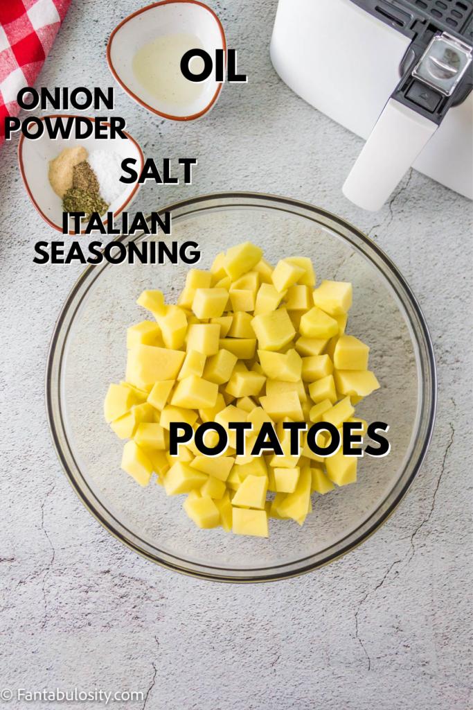 Ingredients for air fryer breakfast potatoes