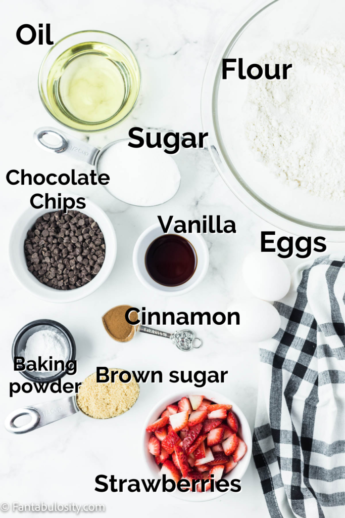 Ingredients for strawberry chocolate chip muffins