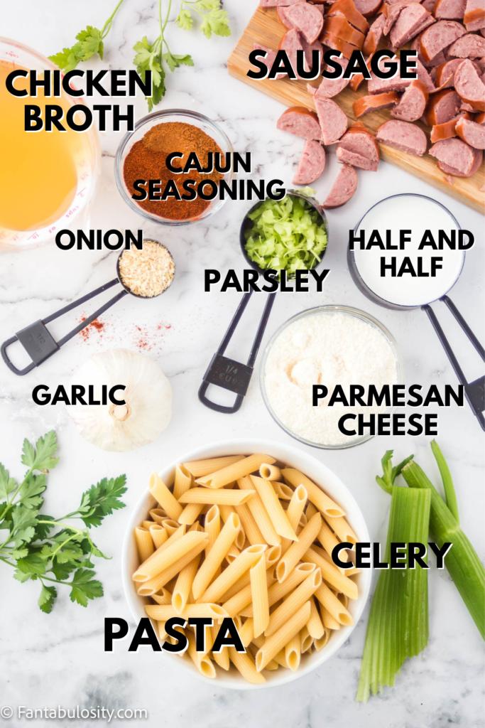 Instant pot cajun pasta ingredients.