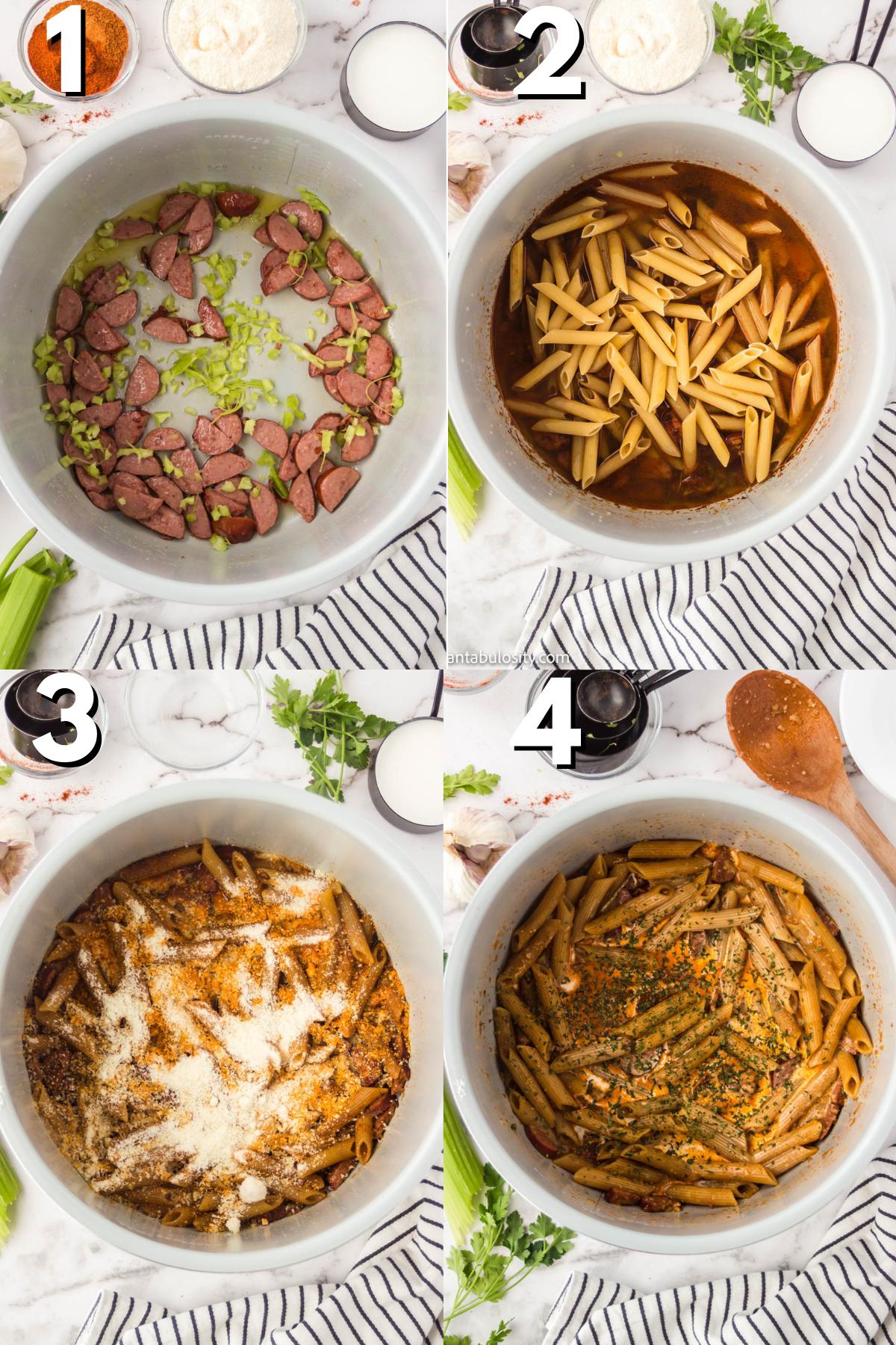 steps to make instant pot cajun pasta
