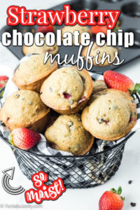 strawberry chocolate chip muffins in a black basket