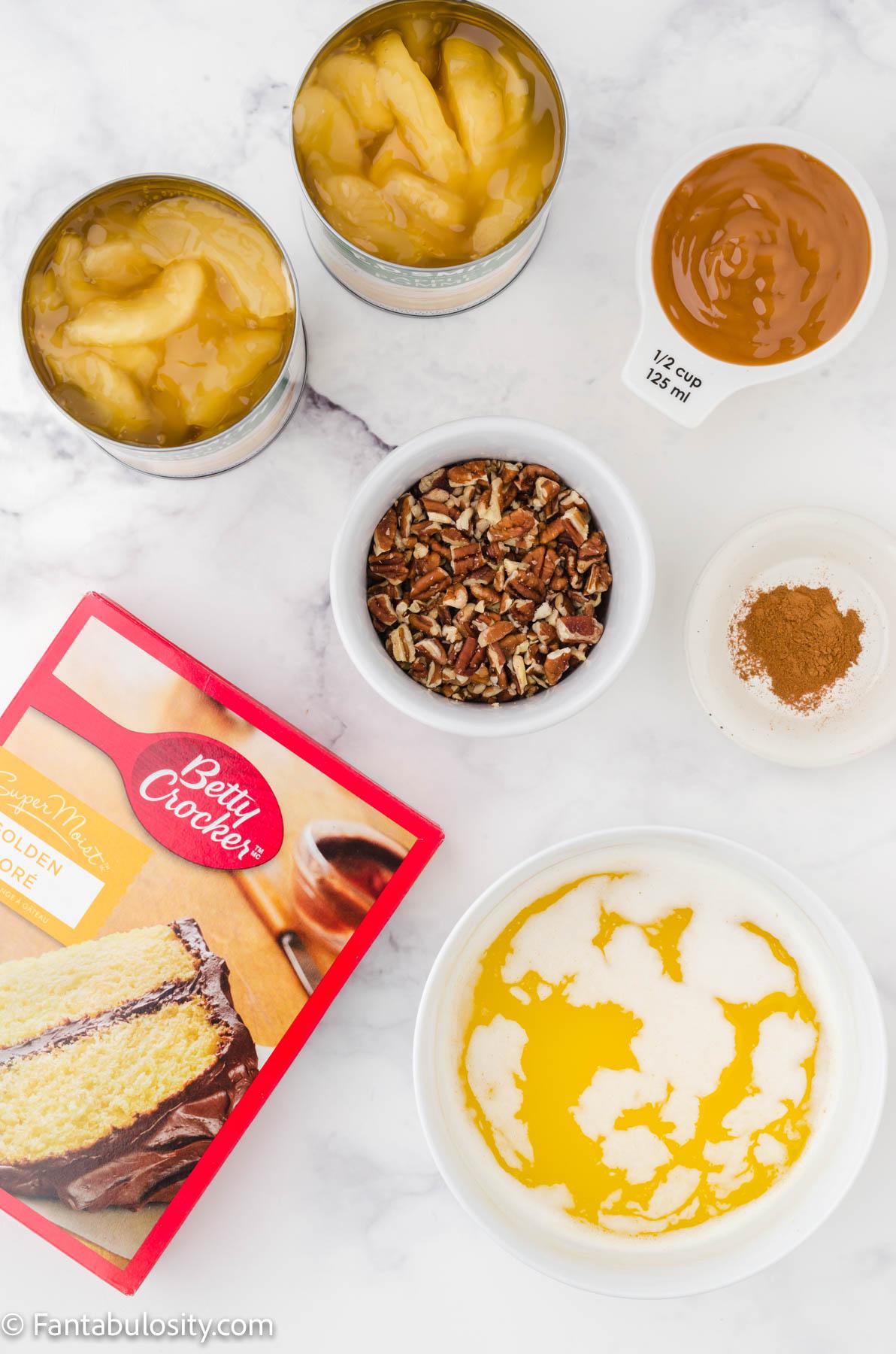 Ingredients for caramel apple dump cake