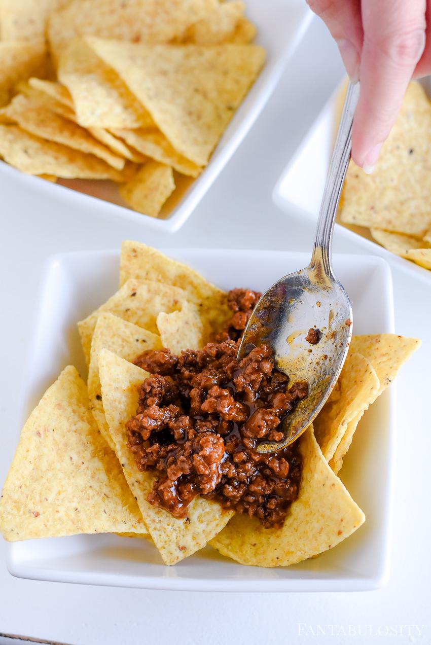 leftover taco meat on tortilla chips