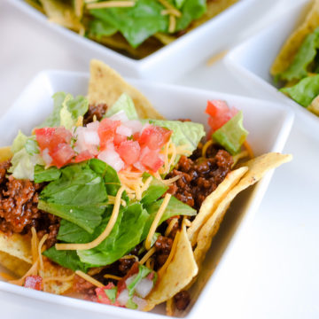 what to do with leftover taco meat - taco salad in bowl