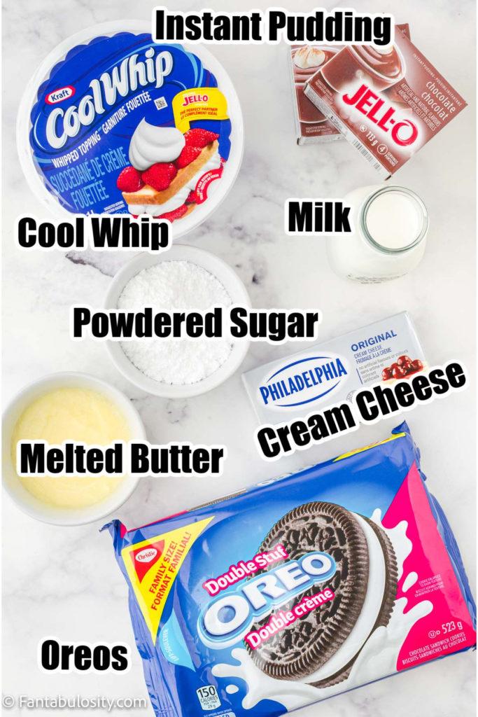 Ingredients for No Bake Oreo Dessert Recipe