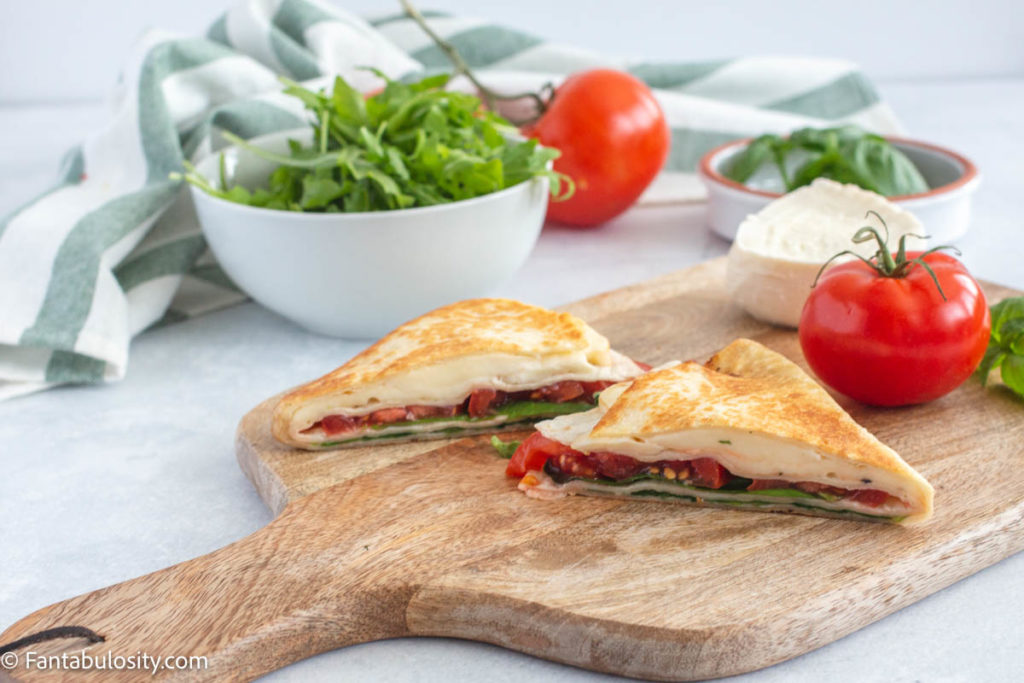 Mozzarella wrap with tomato and basil recipe