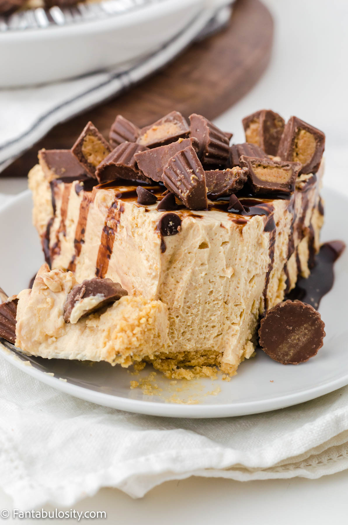 old fashioned peanut butter pie on white plate
