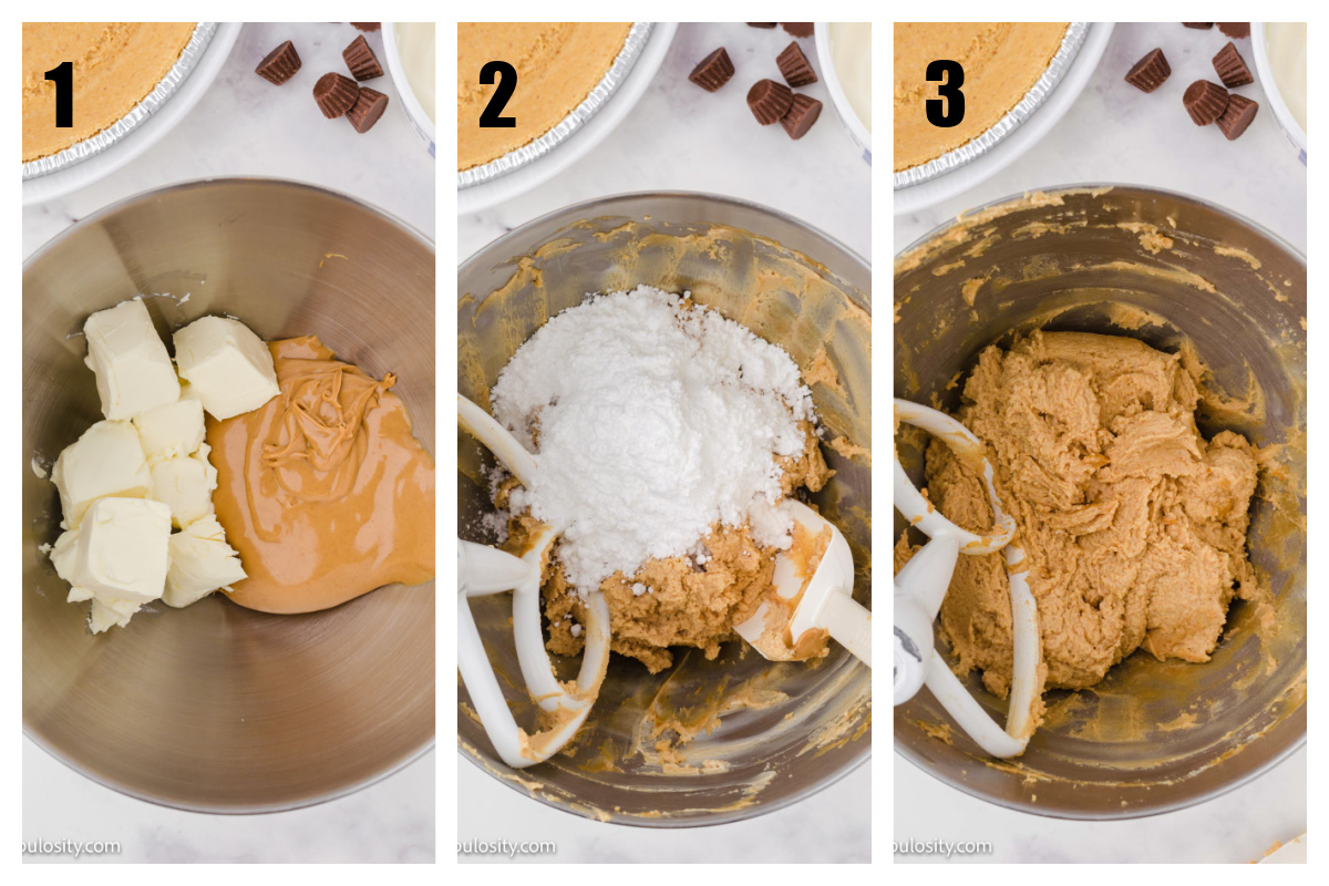 Collage step by step peanut butter pie recipe