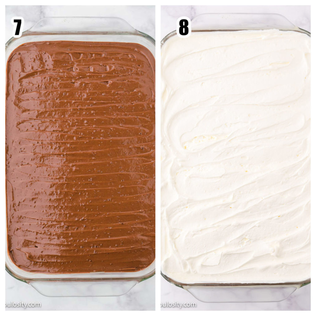 chocolate pudding layer and cool whip layer collage