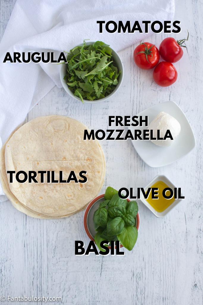 ingredients for easy mozzarella wrap