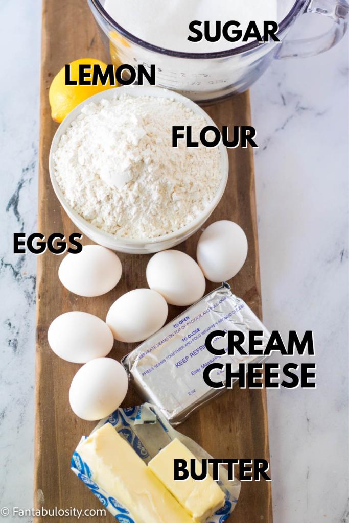 Ingredients for lemon bundt cake