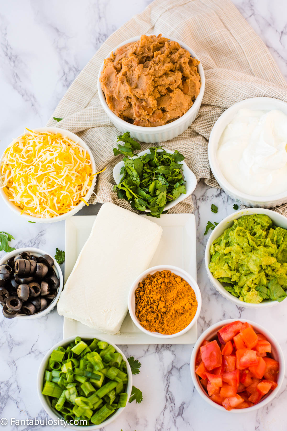 Ingredients for 7 layer taco dip