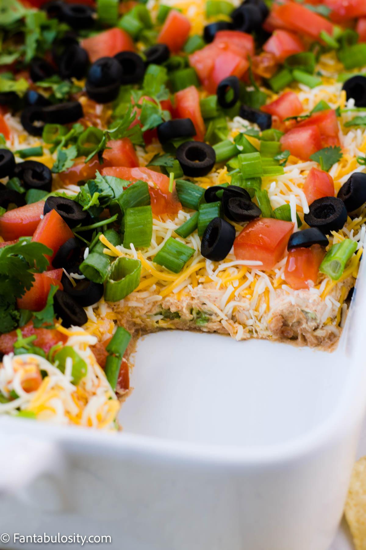 Layers in taco dip appetizer recipe