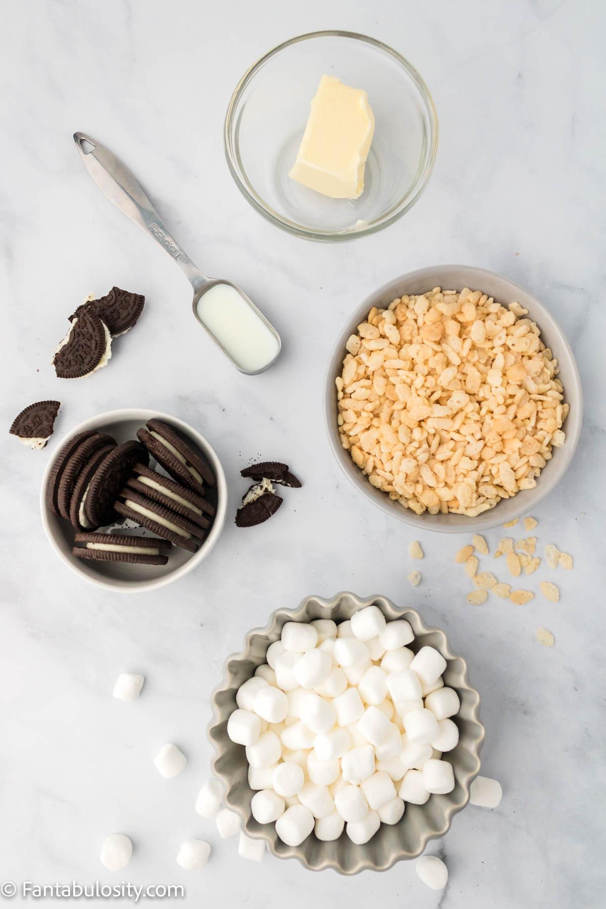 ingredients for cookies and cream rice krispies
