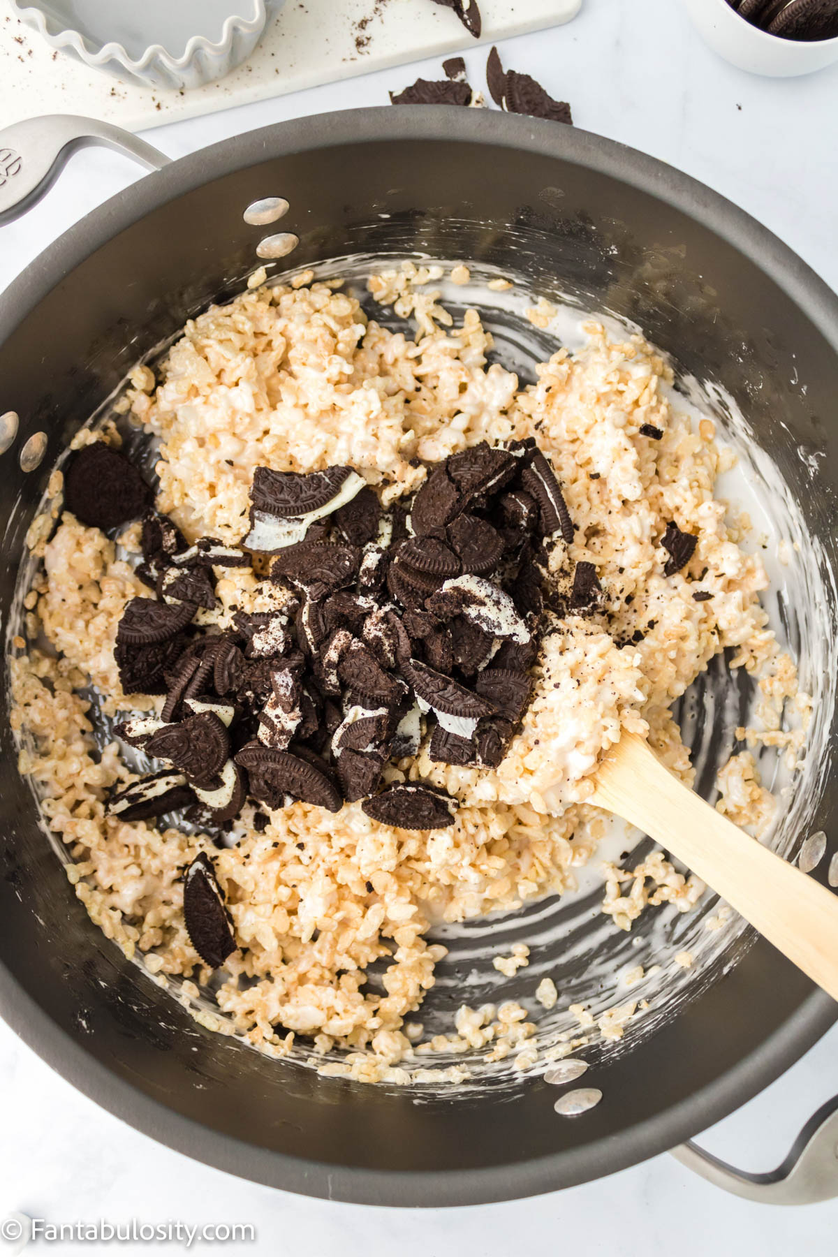 Add in chopped Oreo cookies