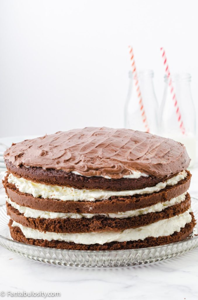 Frosted ding dong cake layers