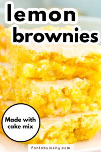 Lemon brownies made with cake mix stacked