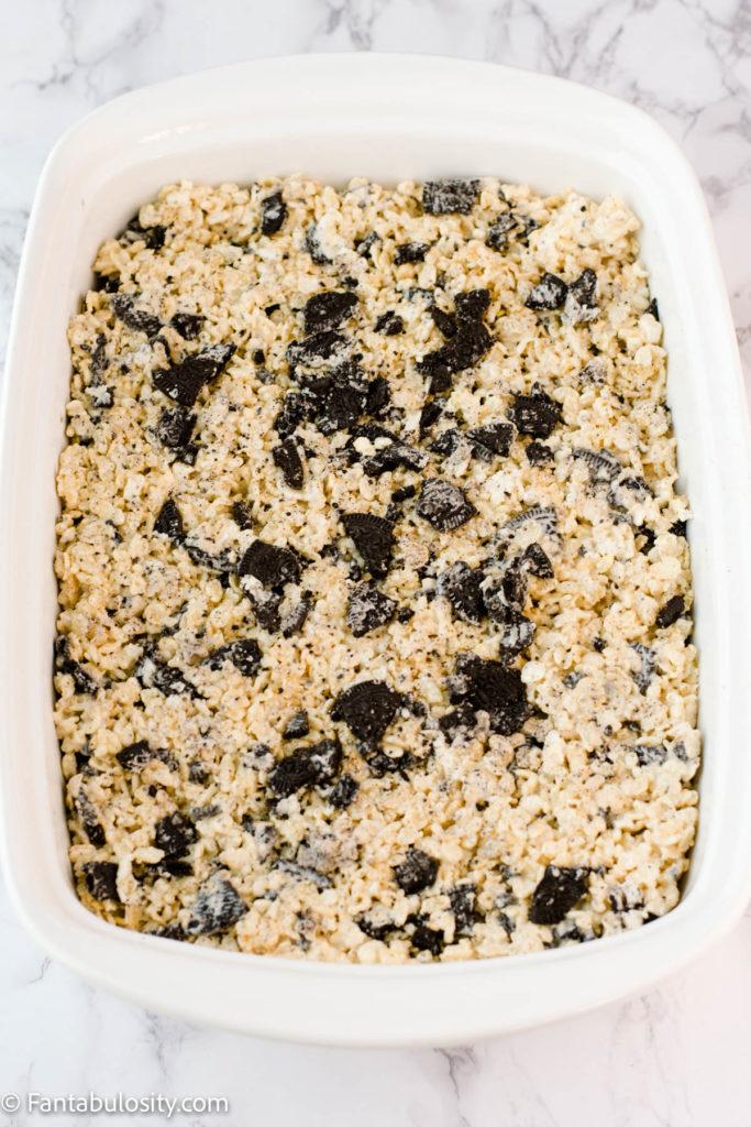 rice krispy treats in 9x13 baking dish