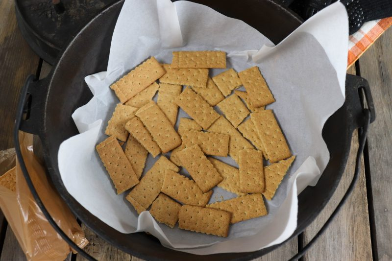 graham crackers for smores in cast iron dutch oven