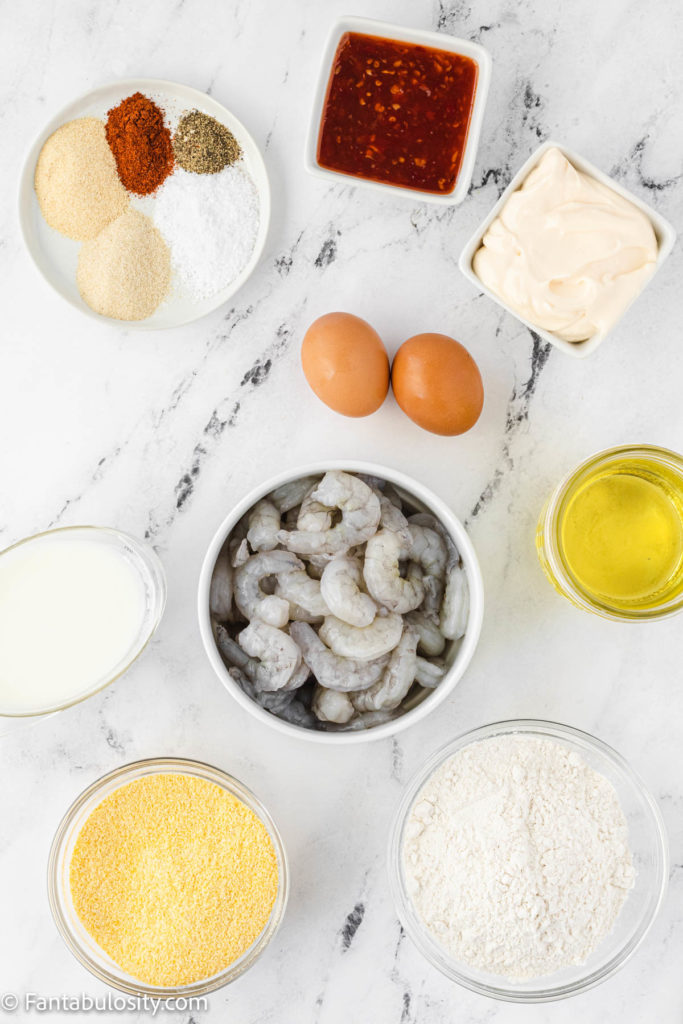 Fried Shrimp Ingredients on table