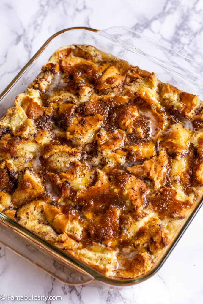 Bread Pudding with vanilla sauce in dish