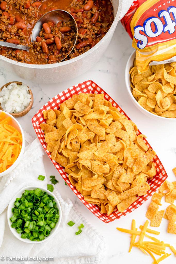 Frito Boat - corn chips ready for chili