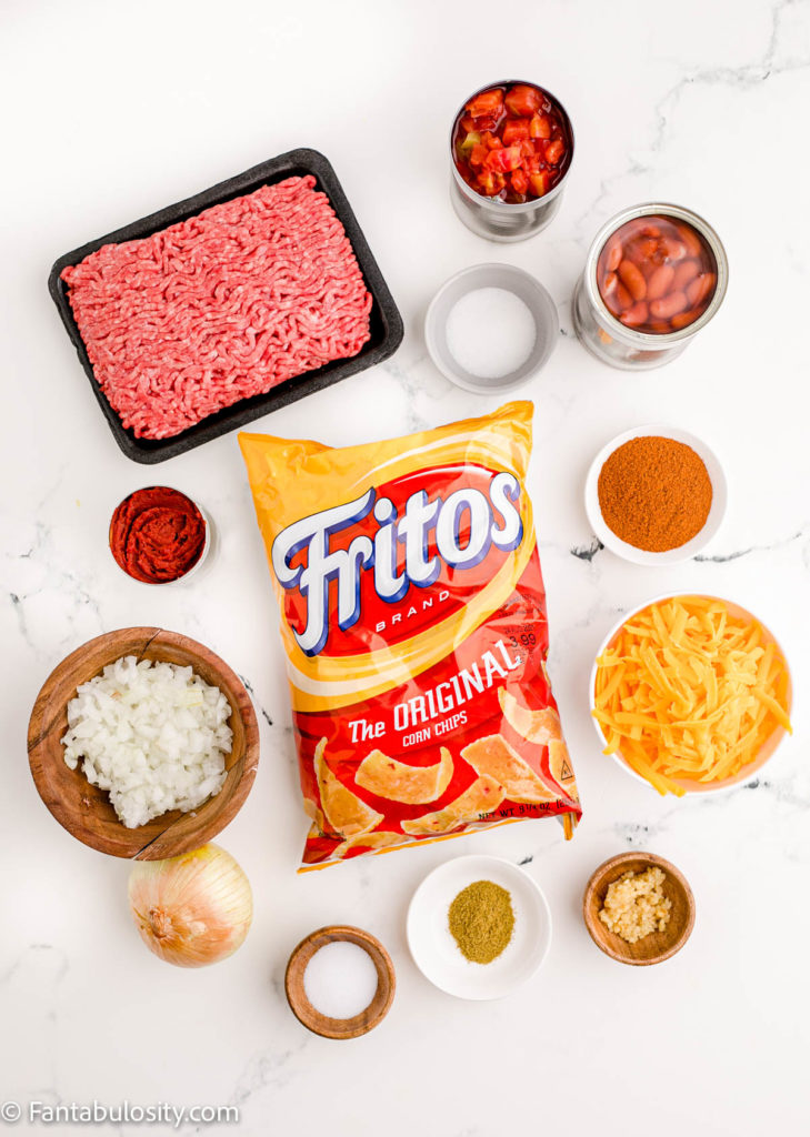 Ingredients for Frito Chili Pie recipe