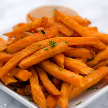 Cooked frozen sweet potato fries in the air fryer