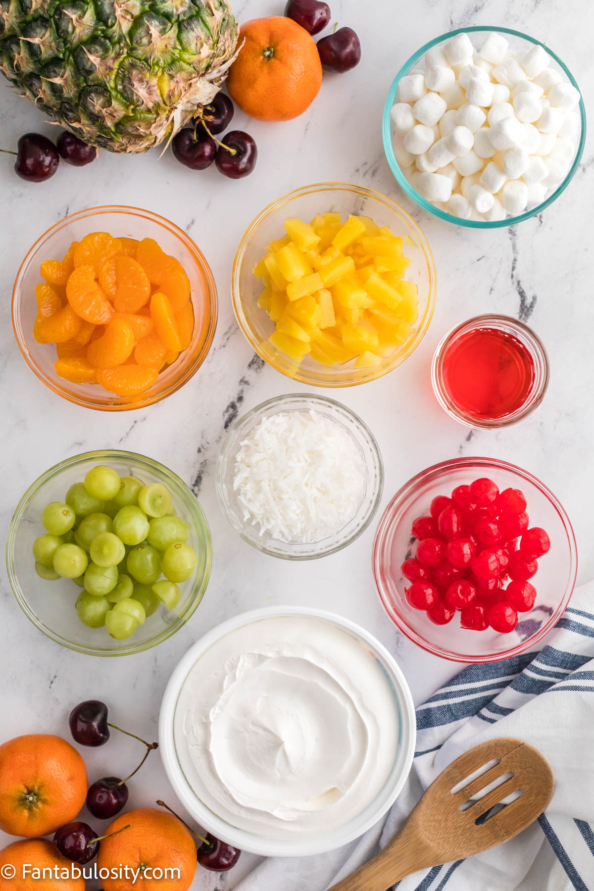 Ingredients for fruit salad with cool whip