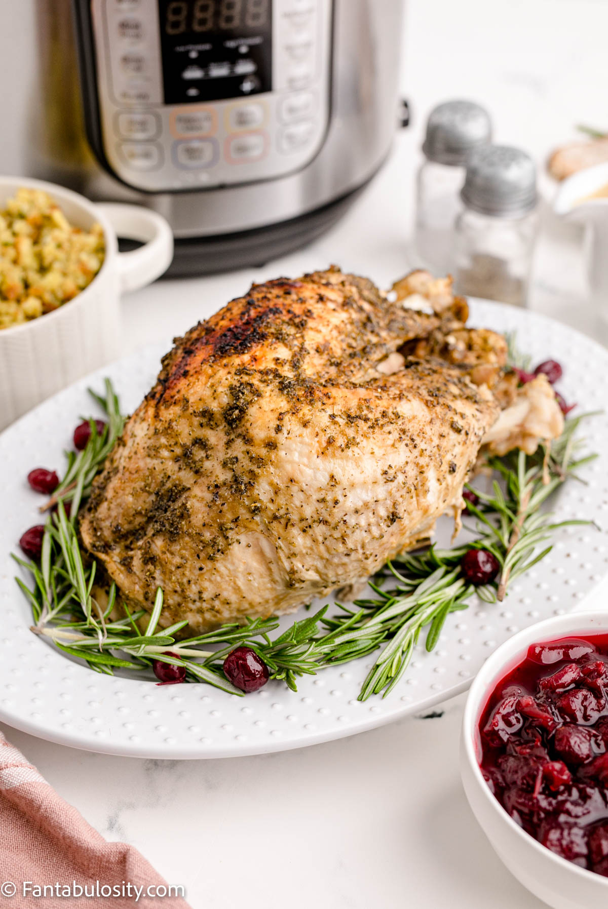 Instant Pot Turkey Breast on plate with garnishes