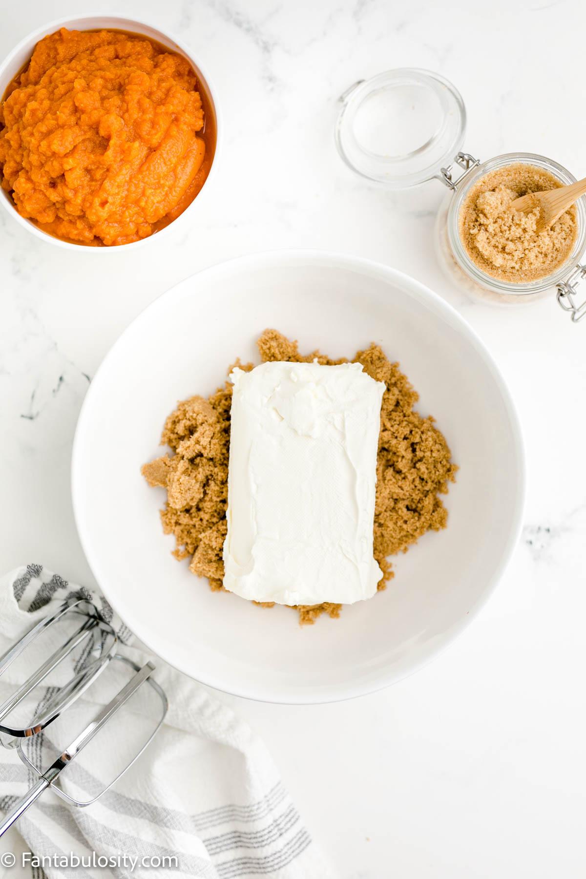 Mix cream cheese and brown sugar for pumpkin fluff dip