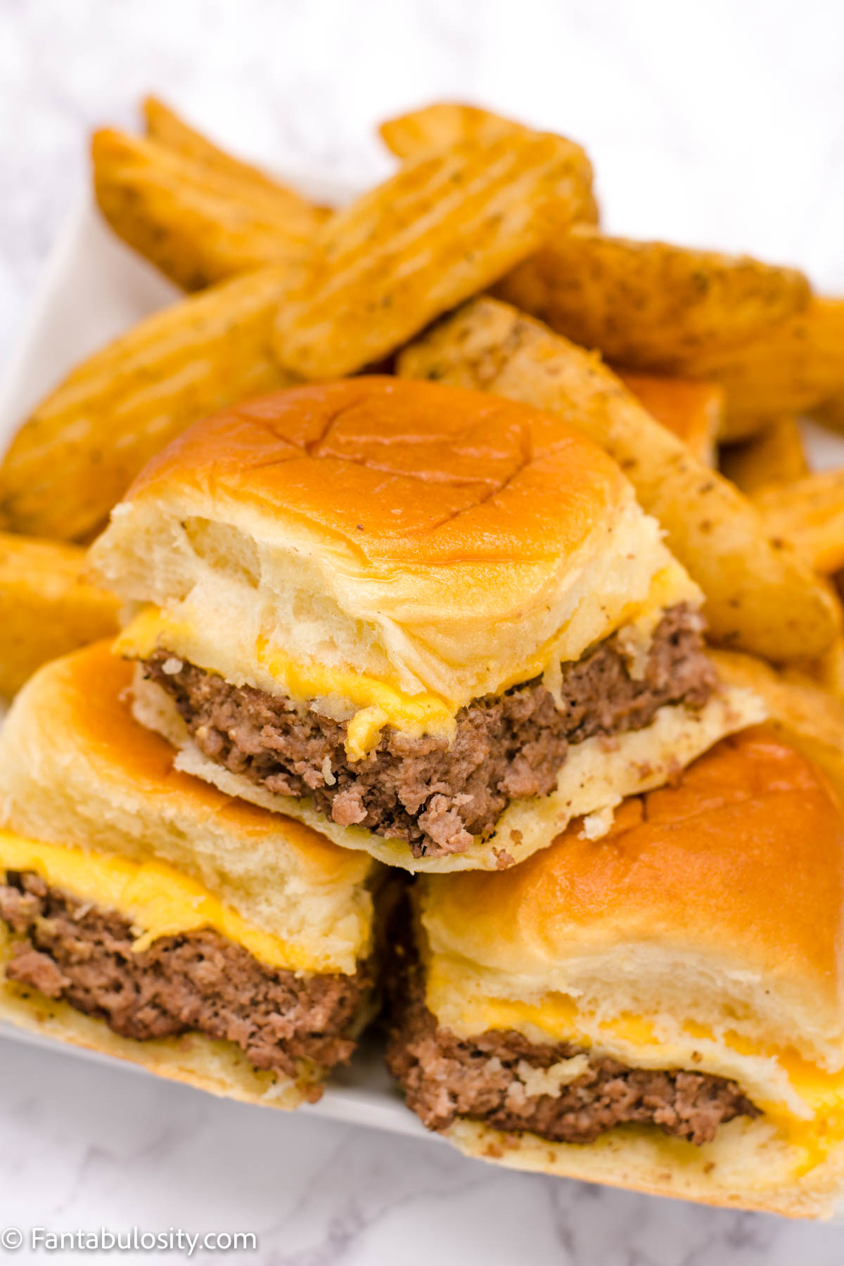 easy cheeseburger sliders stacked