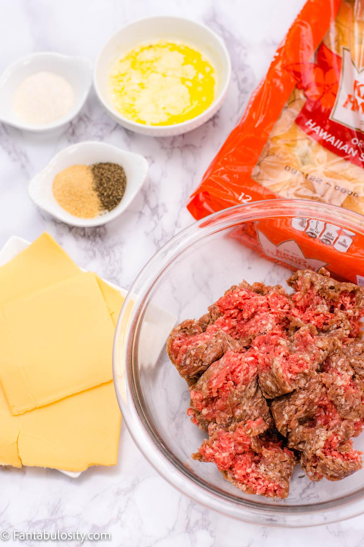 Ingredients for burger sliders