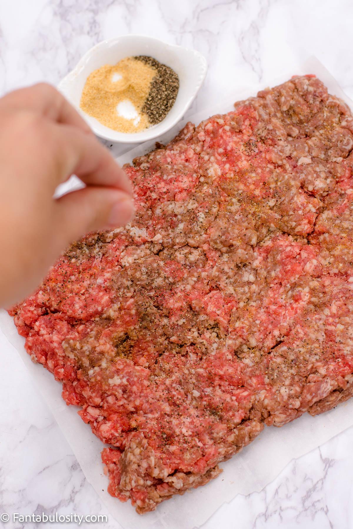 season burger sliders with seasoned salt and pepper