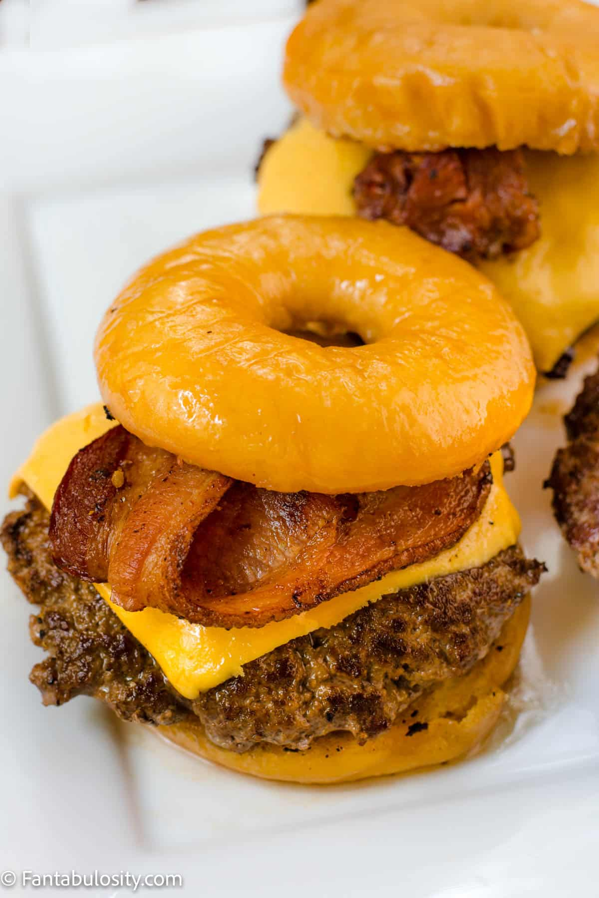 Donut burger - hamburger patty on krispy kreme glazed donuts