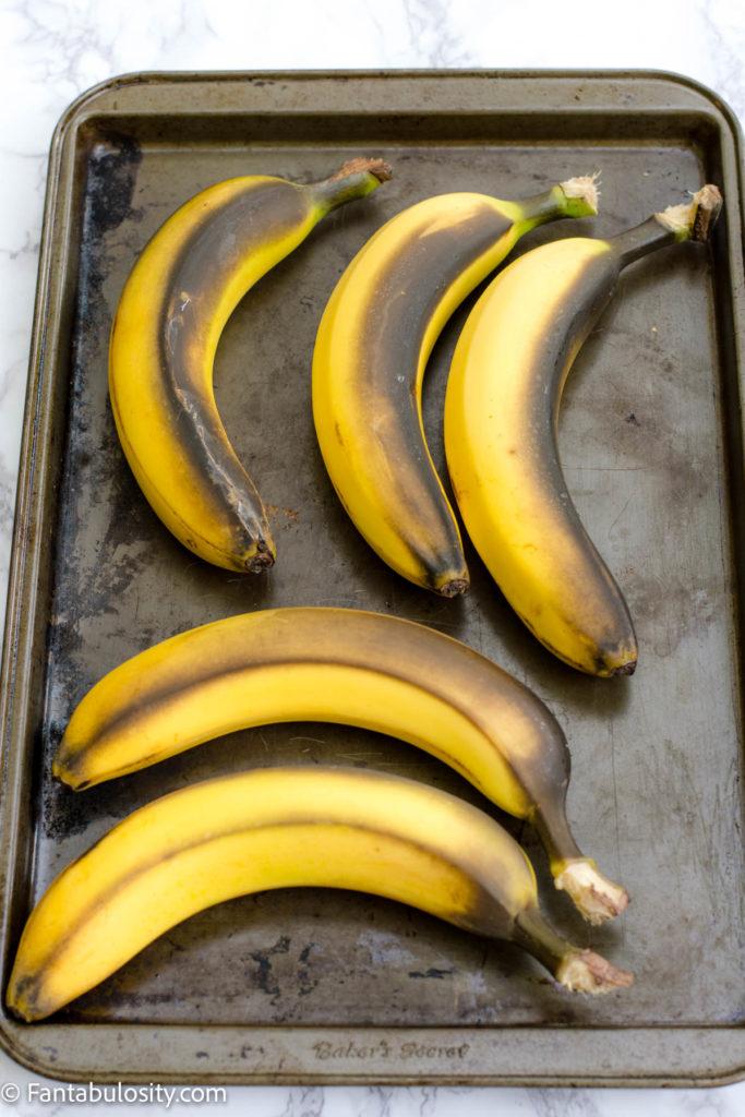 Ripened bananas on baking sheet